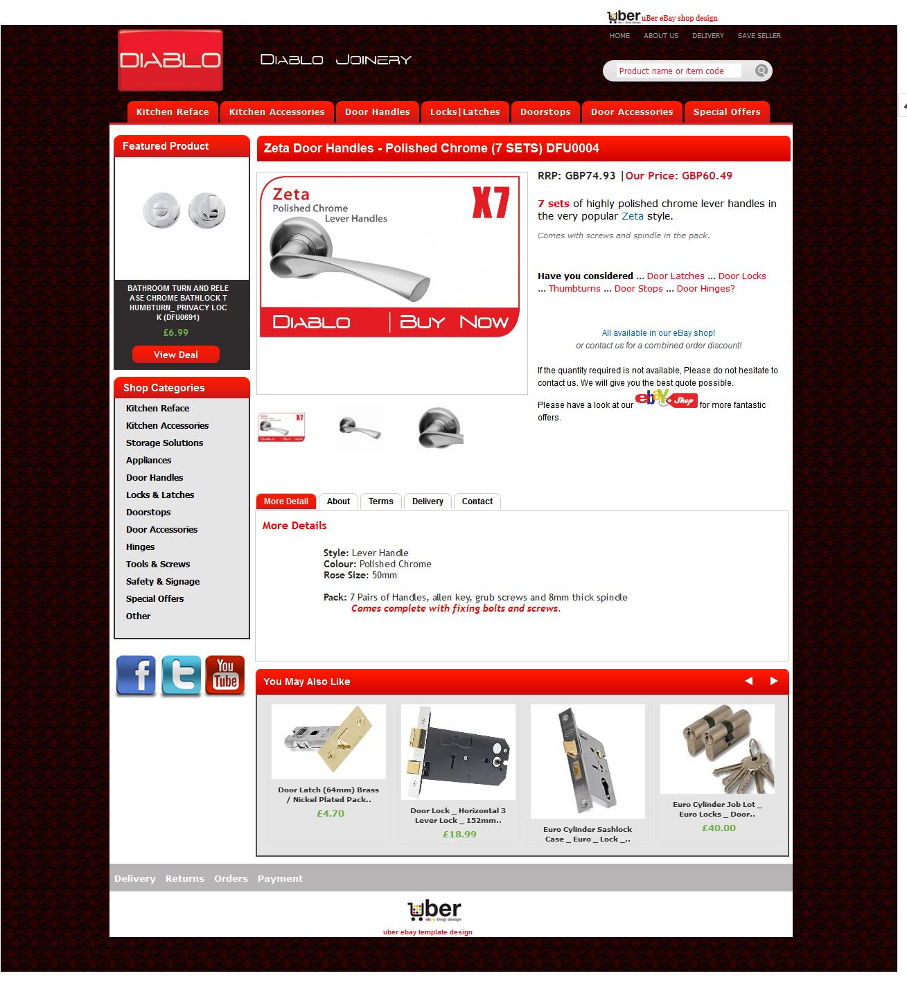 Diablo Joinery ebay item page design
