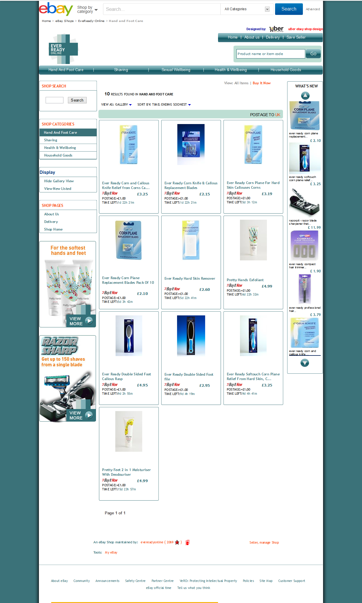 EveReady Online ebay store design category view