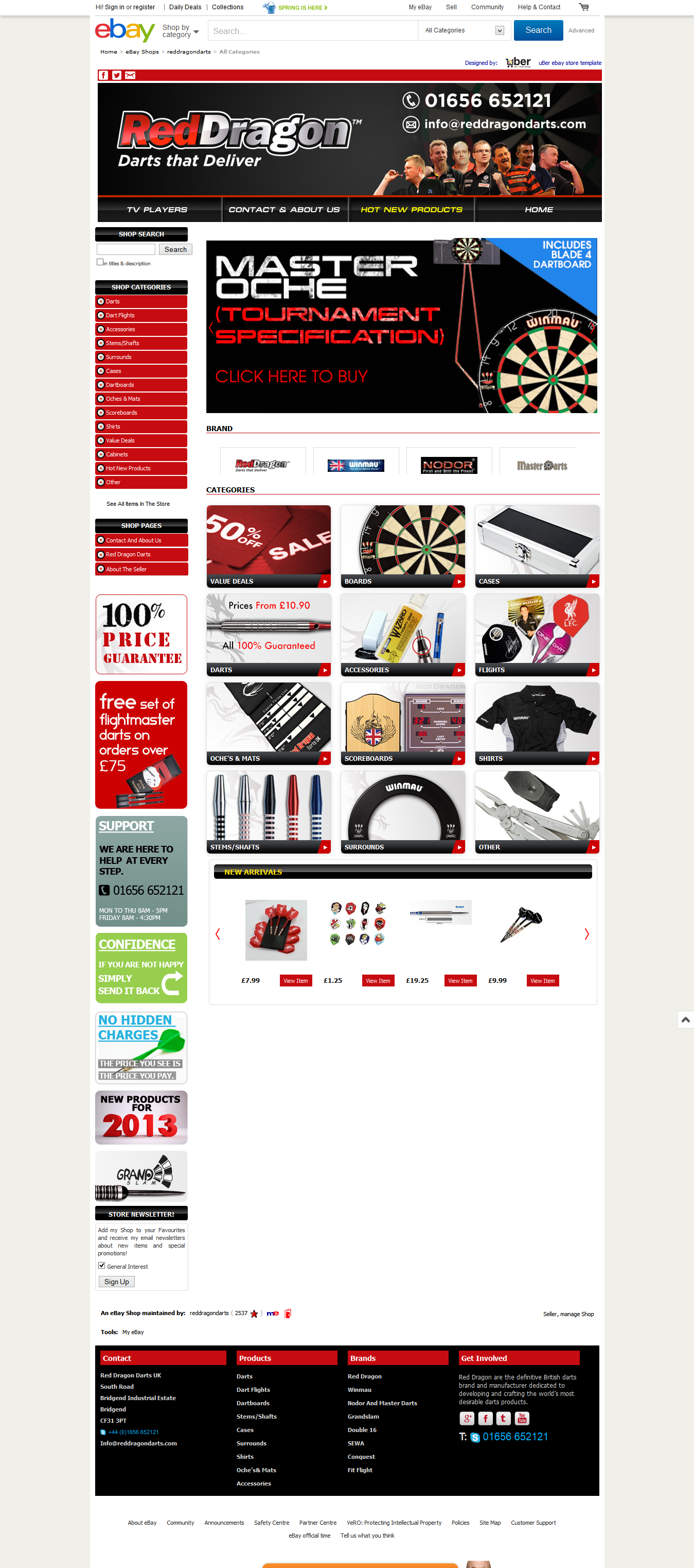 Red Dragon Darts ebay shop design