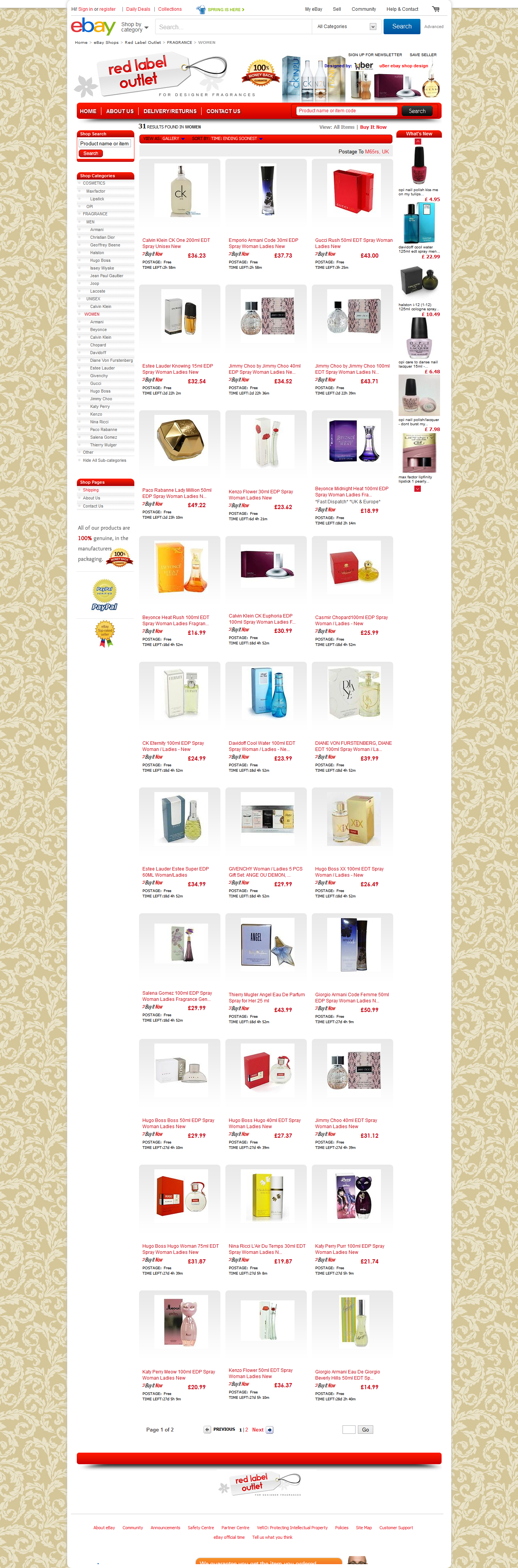Red Label Outlet category page ebay shop design