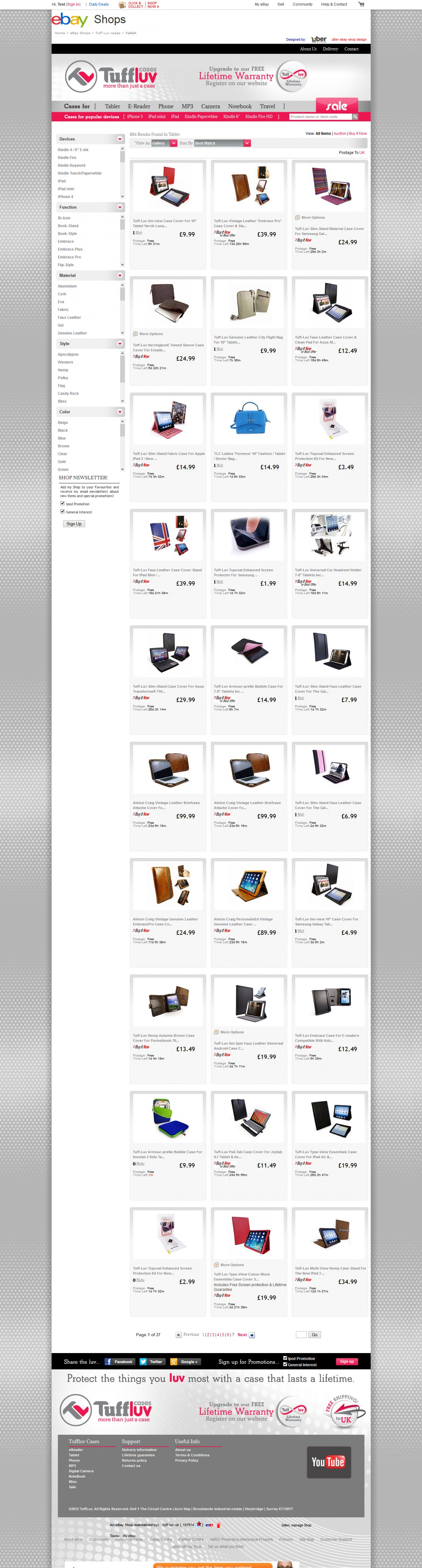 Tuff-Luv Category view ebay shop design