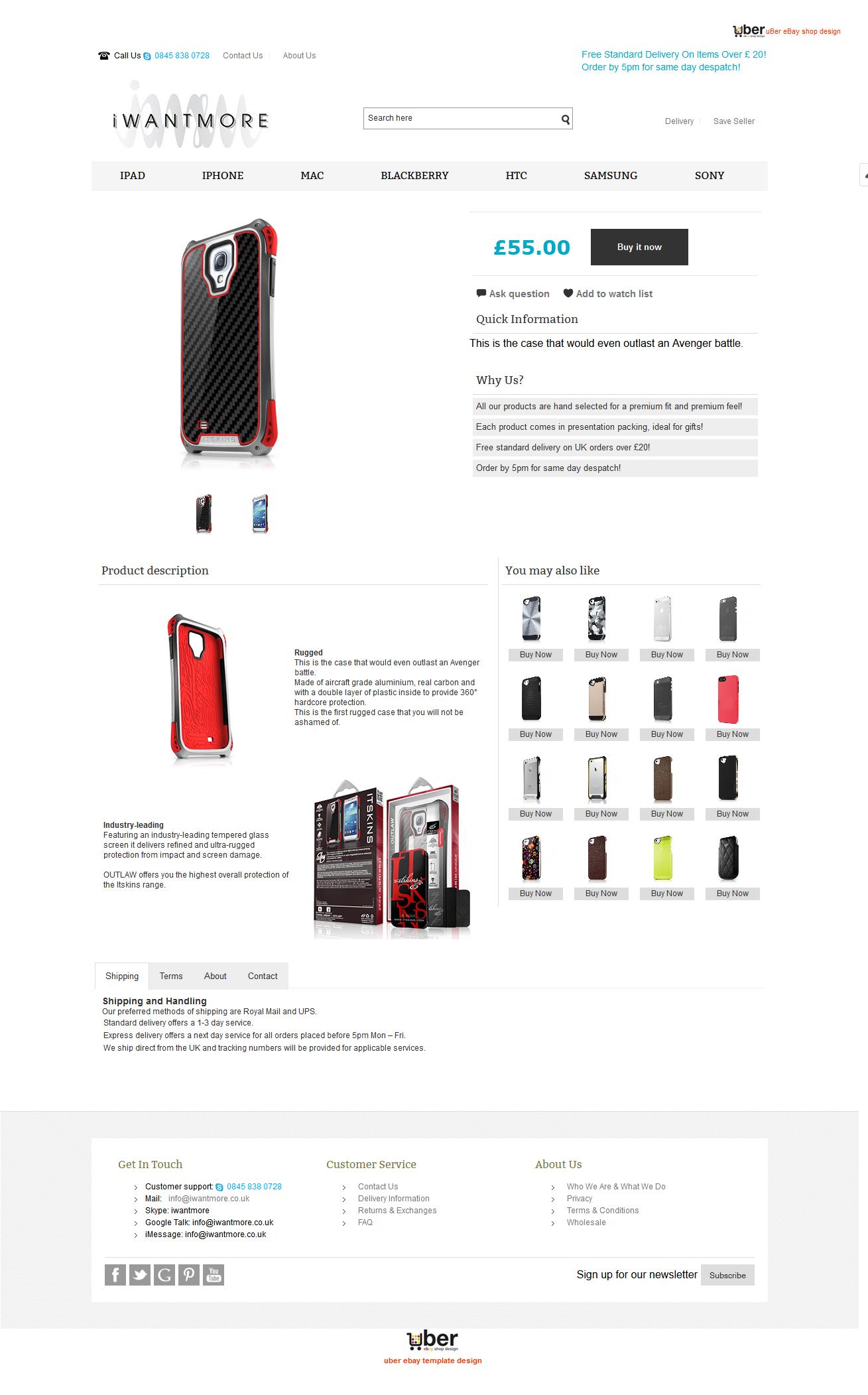 iWantMore ebay item page design