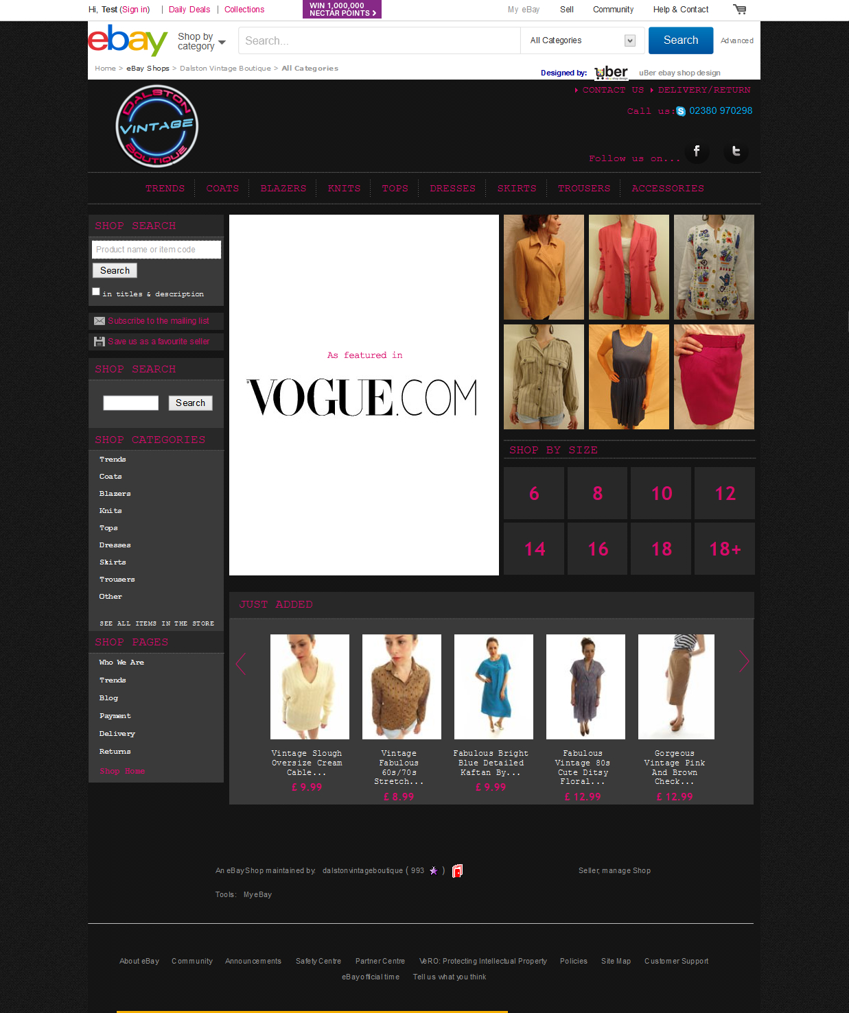 Dalston Vintage Boutique ebay shop design