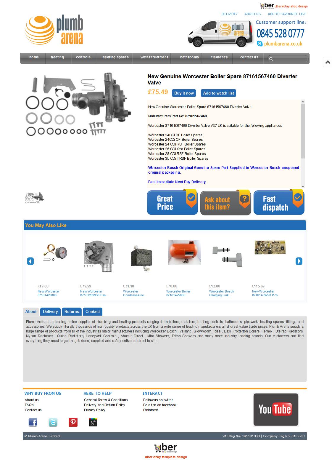 Plumbarena ebay store item template design