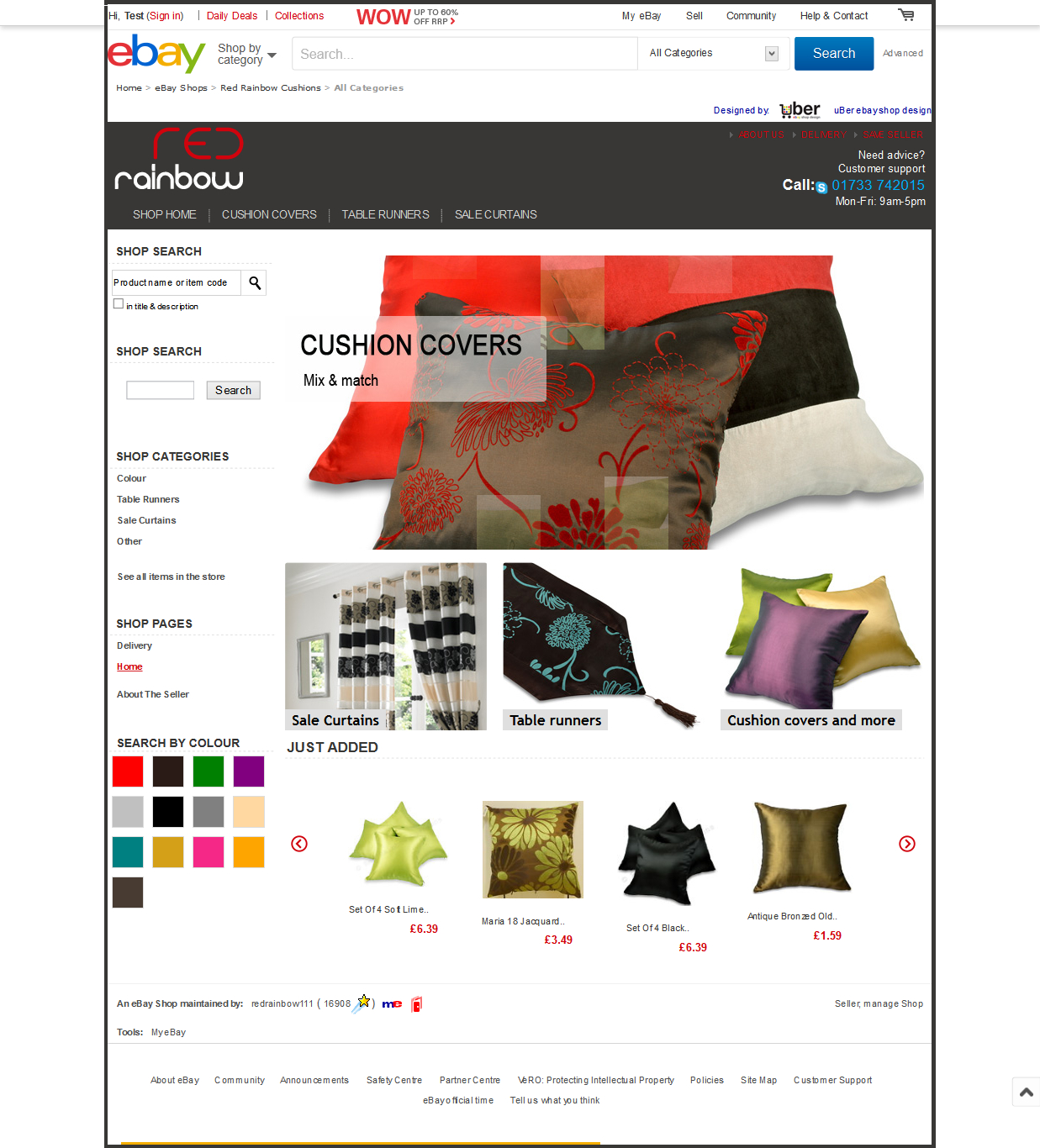 Red Rainbow Cushions Home page