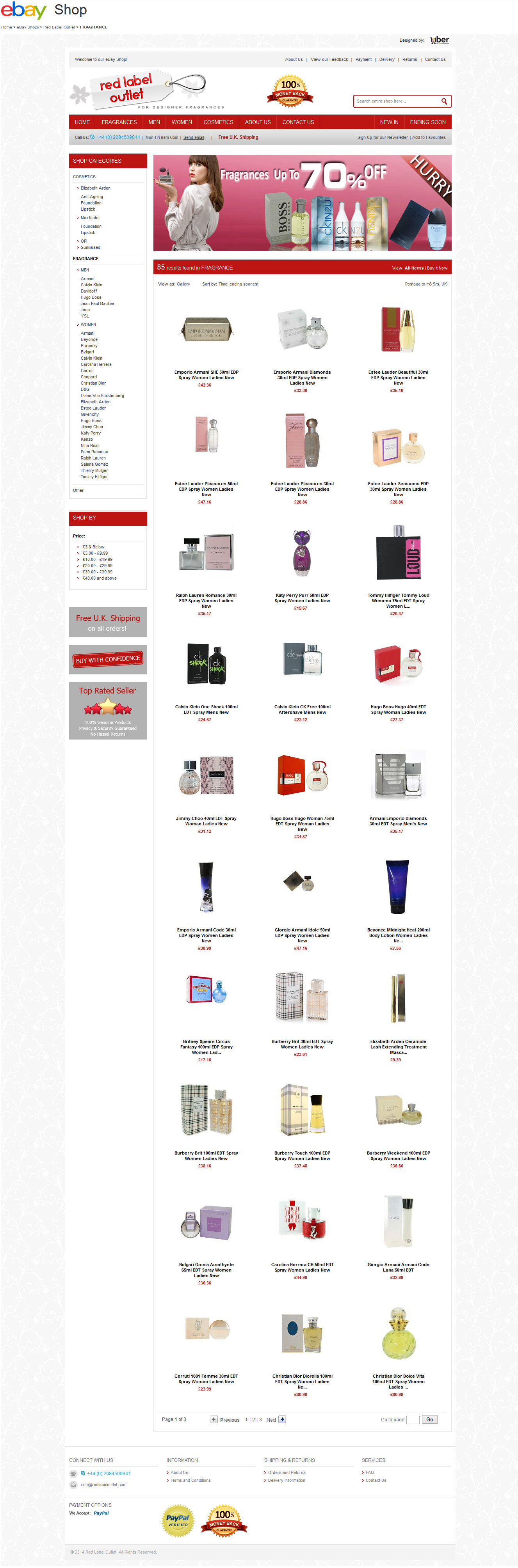 Red Label Outlet store on eBay category design