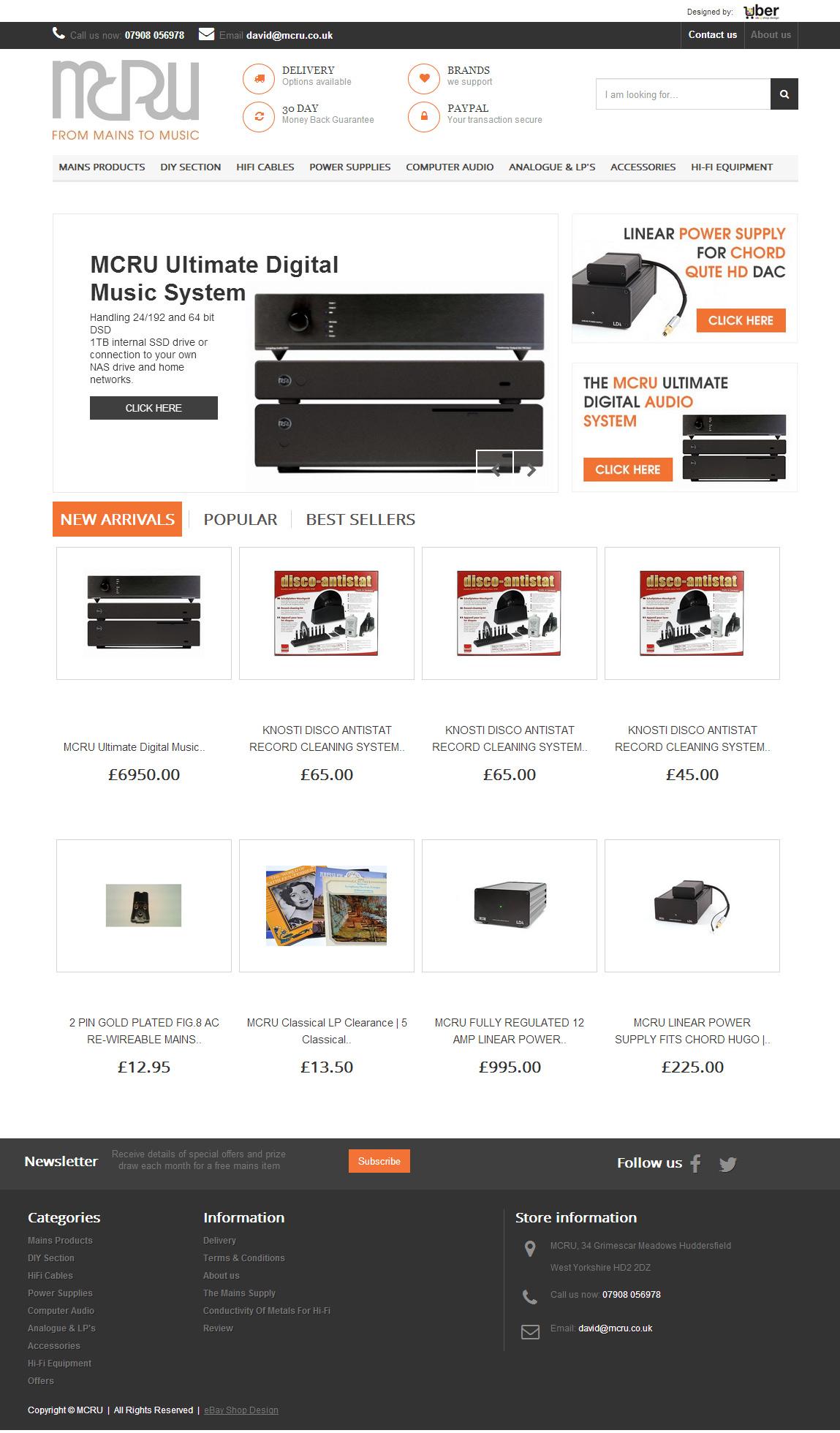 The MCRU ebay store design