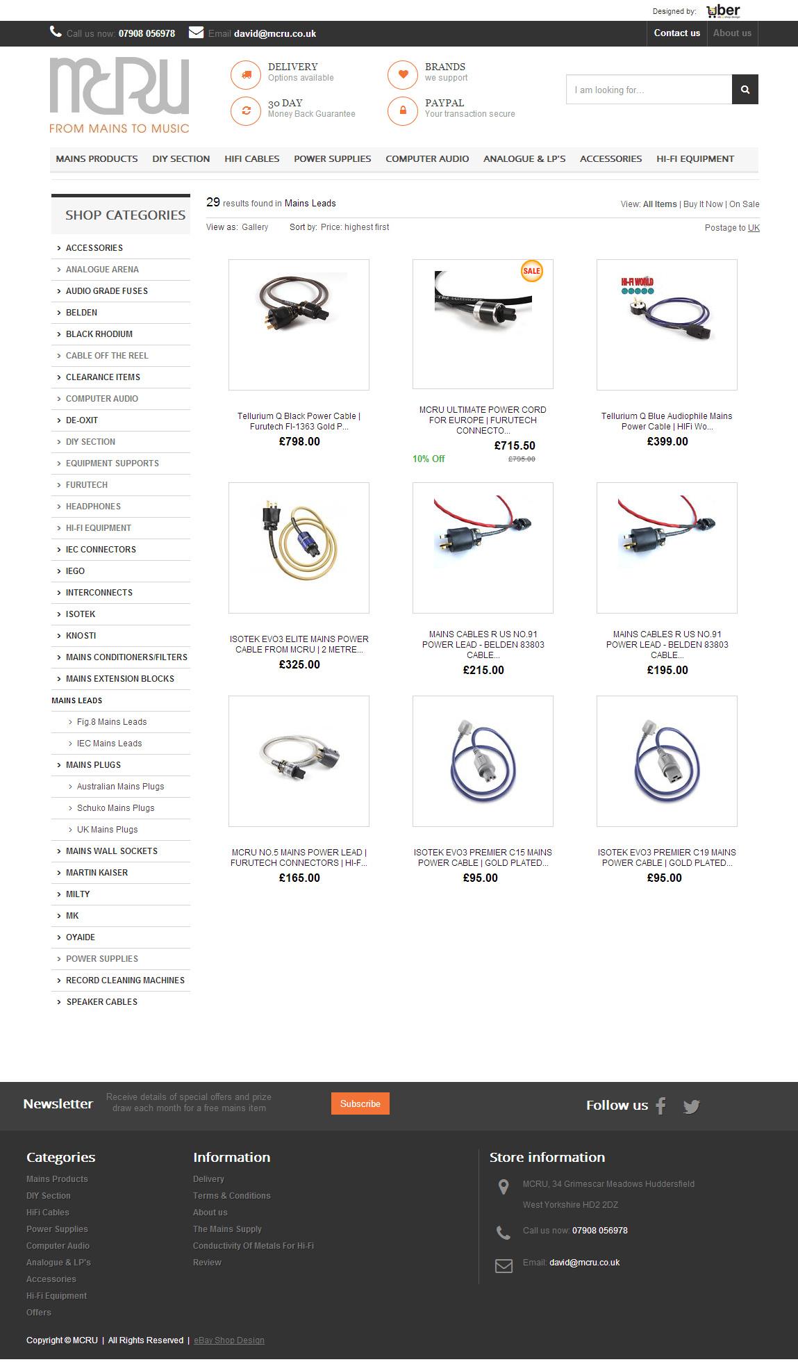 MCRU ebay shop design 2014