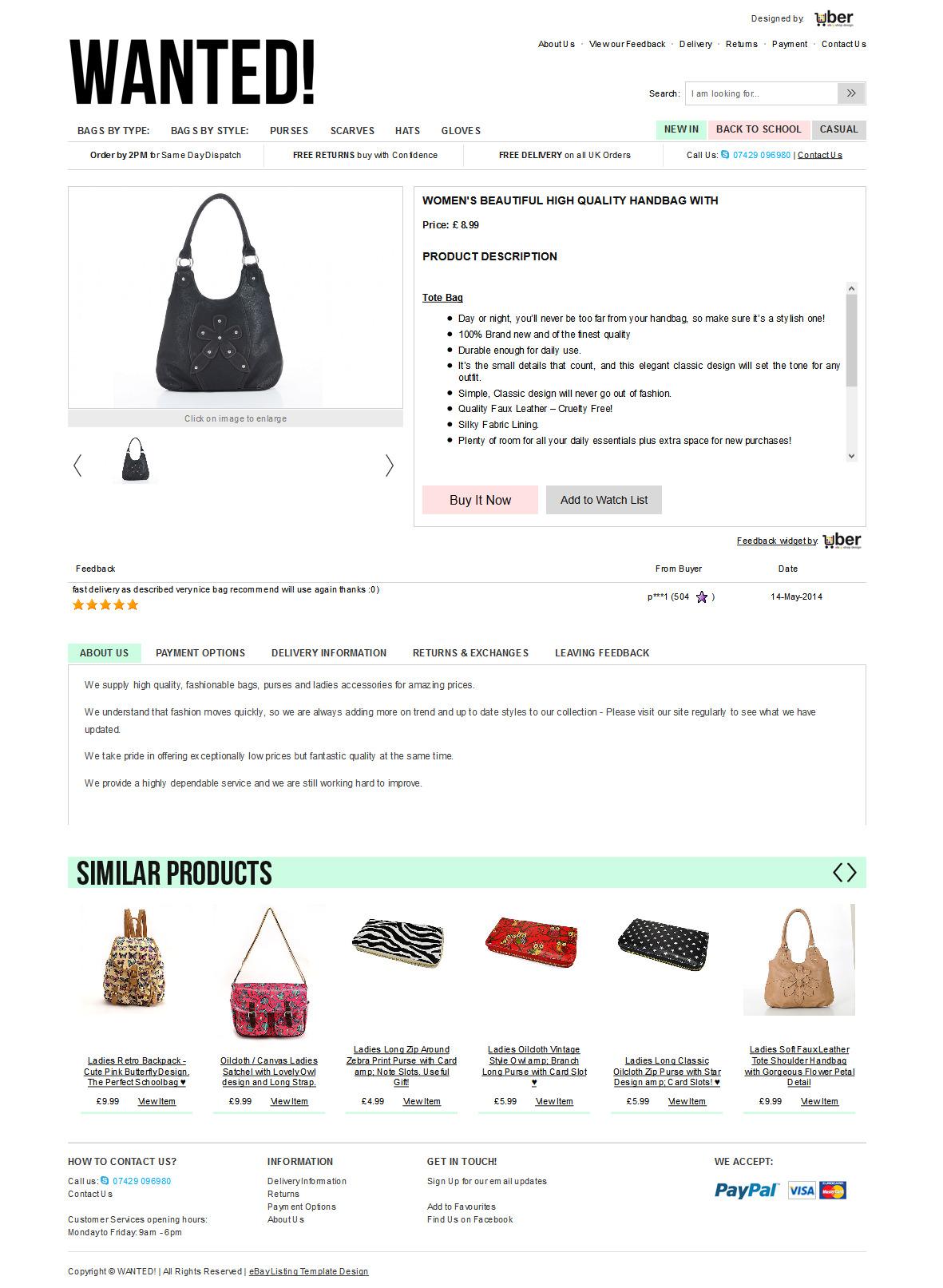 WantedBags ebay item template design
