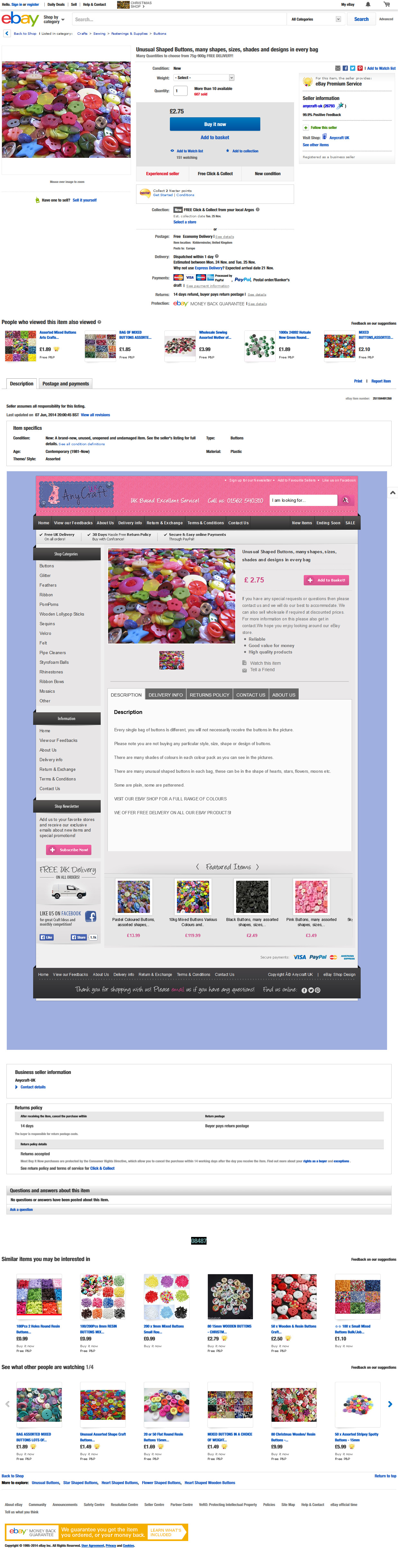 Anycraft UK store item template design ebay