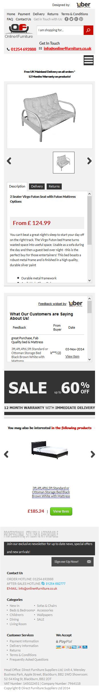 Online4Furniture ebay item template design smart phone view