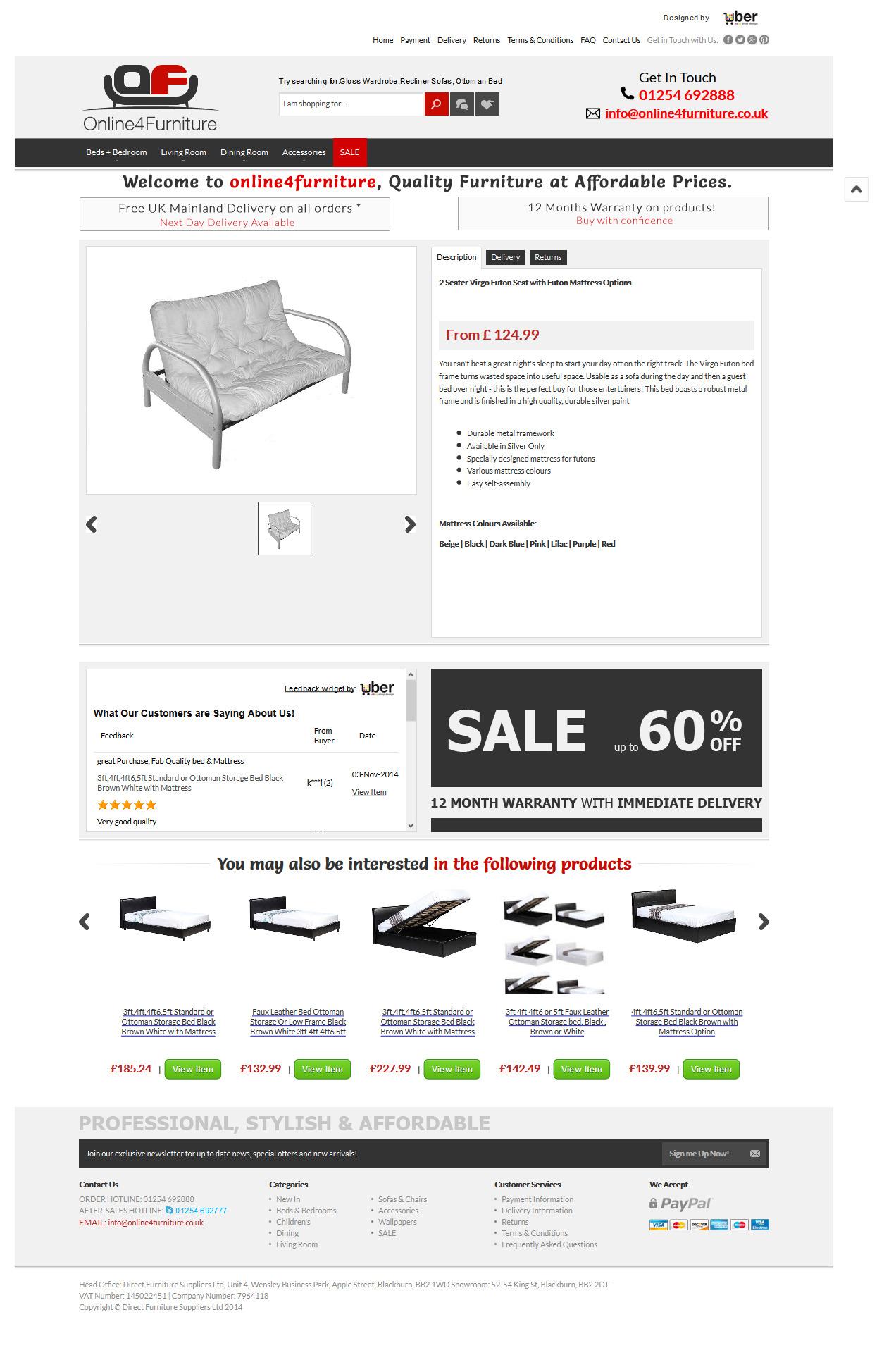 Online4Furniture ebay item template design