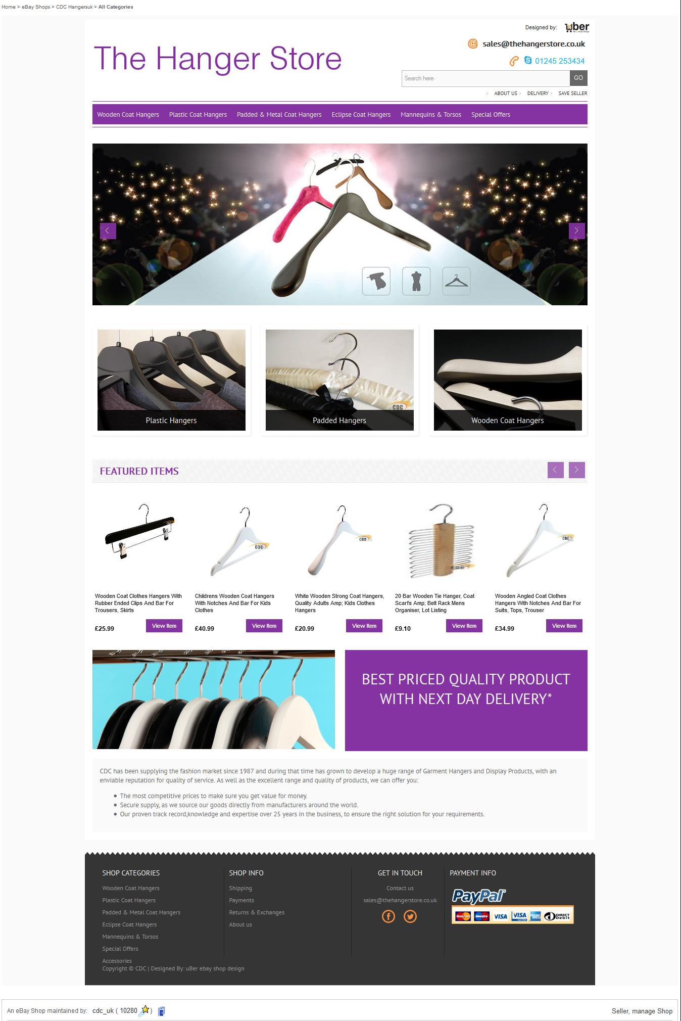 Coat Hangers Store front ebay design