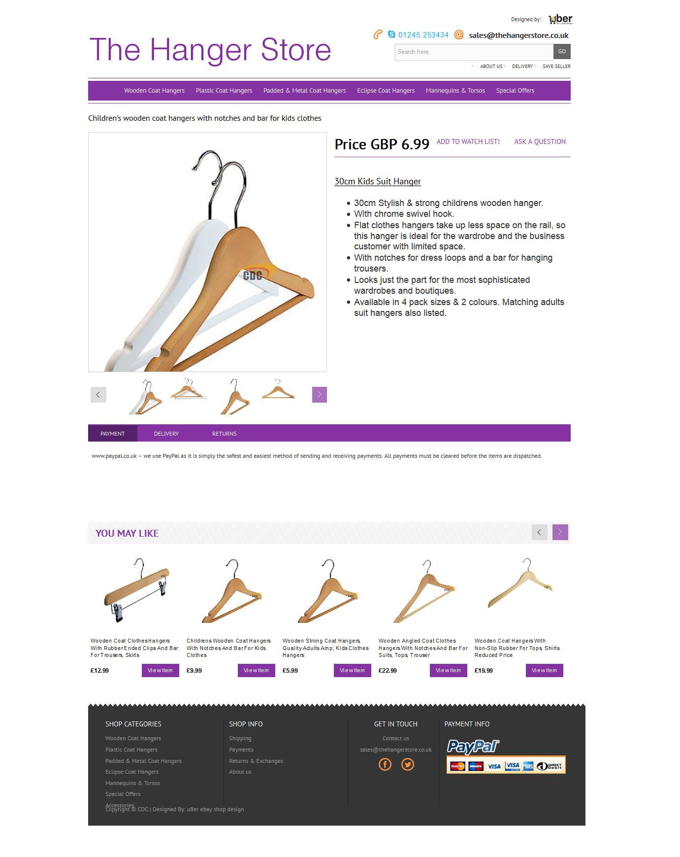 Coat Hangers Store item page ebay design