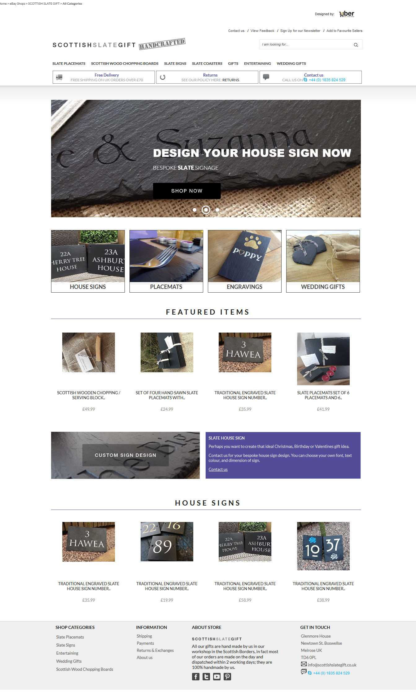 SCOTTISH SLATE GIFT Home Page Design