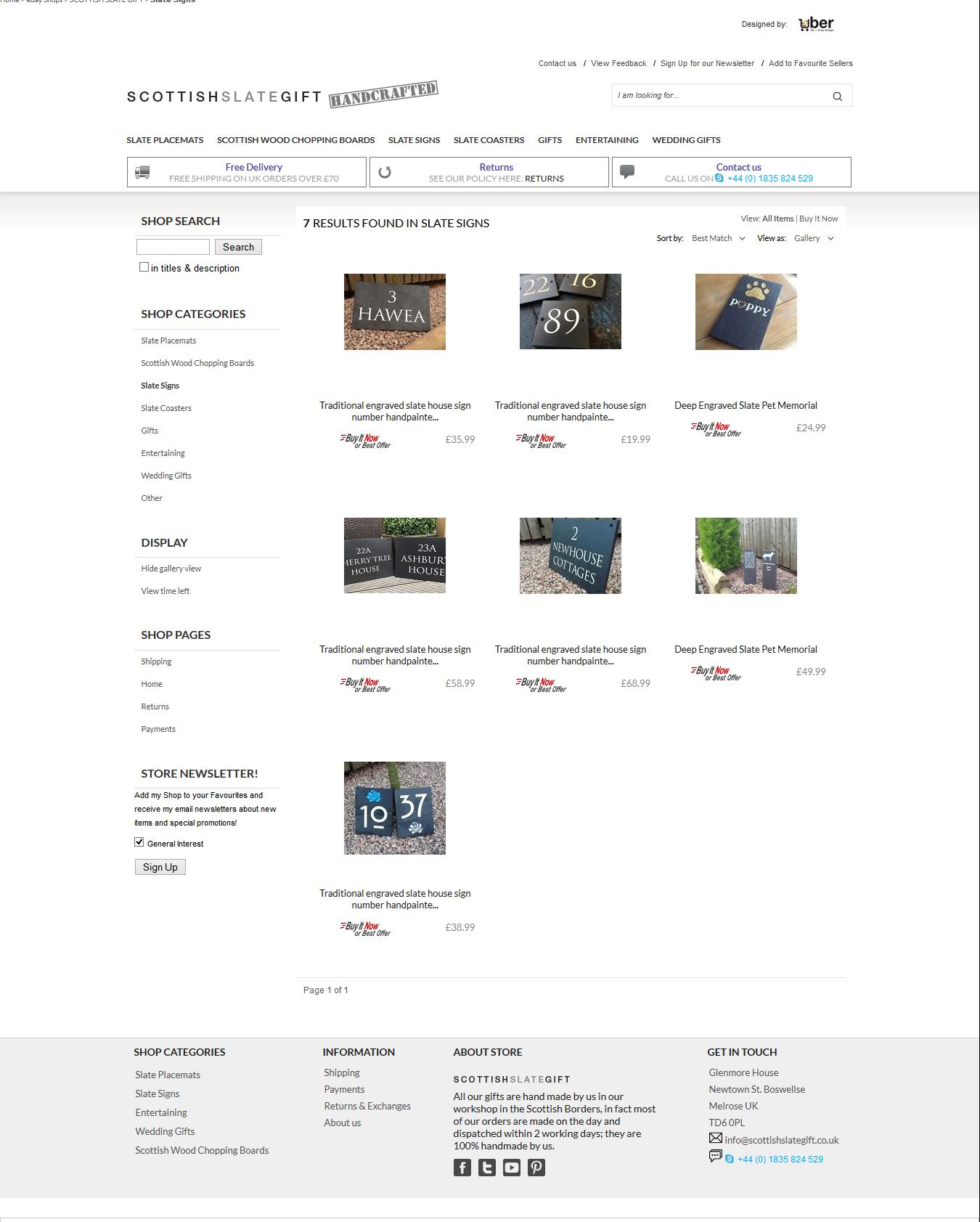 Scottish Slate Gift ebay category page design
