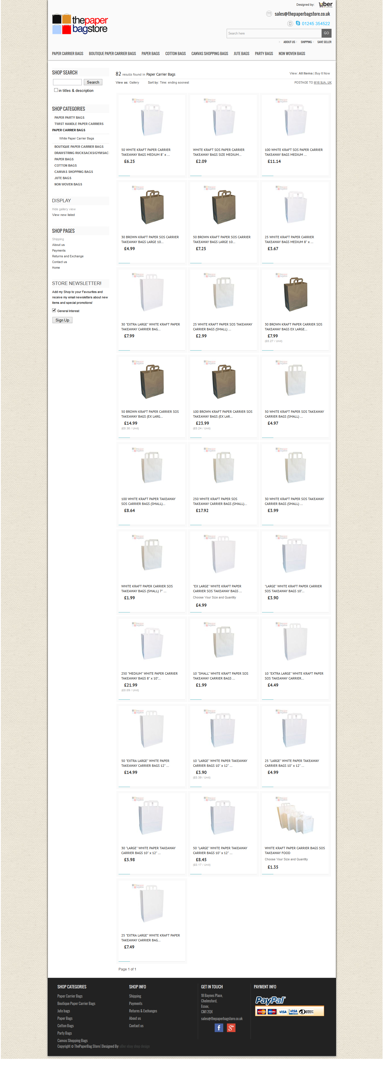The paper bag store Ltd ebay category page design