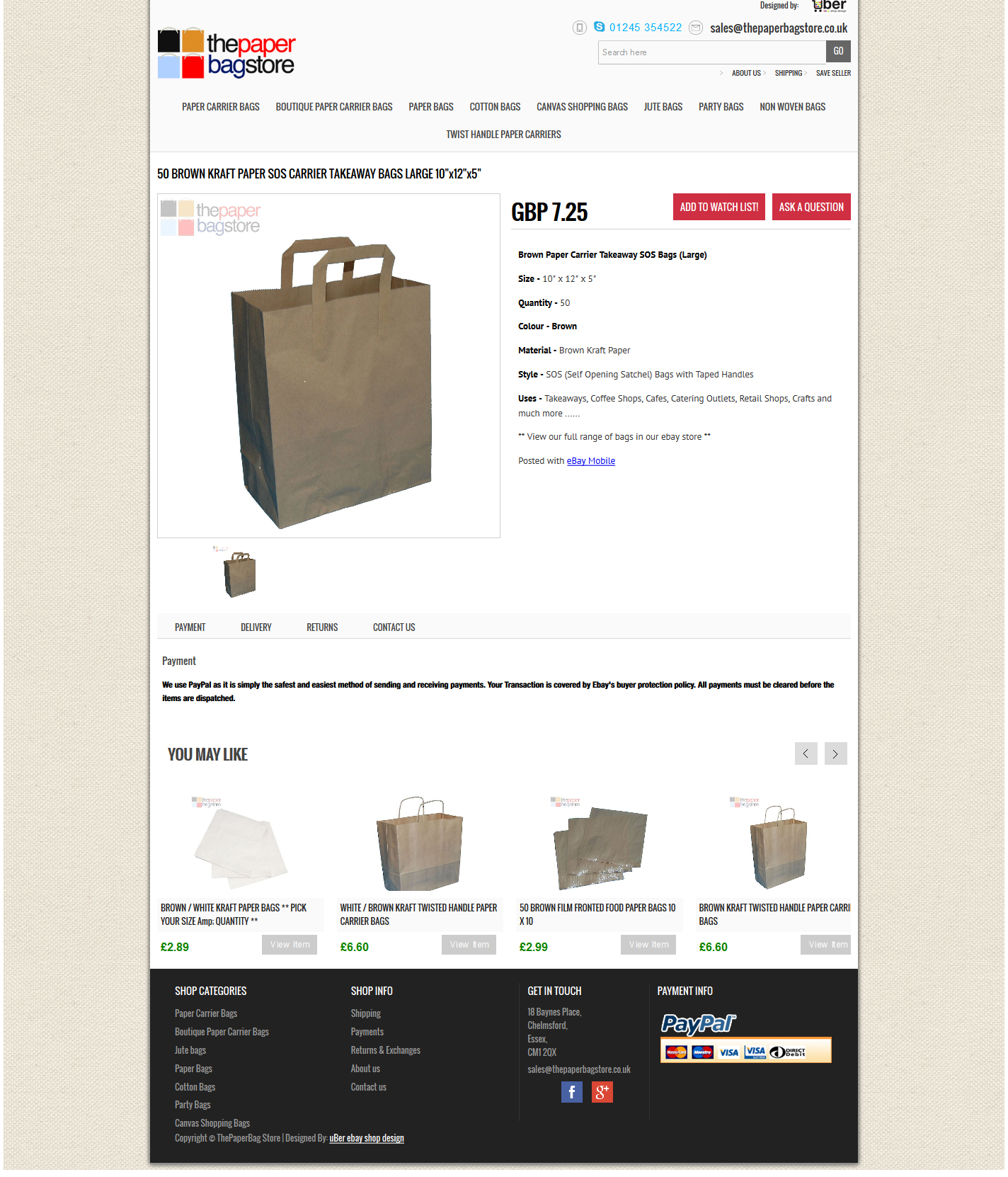 Thepaperbagstore Ltd item page design