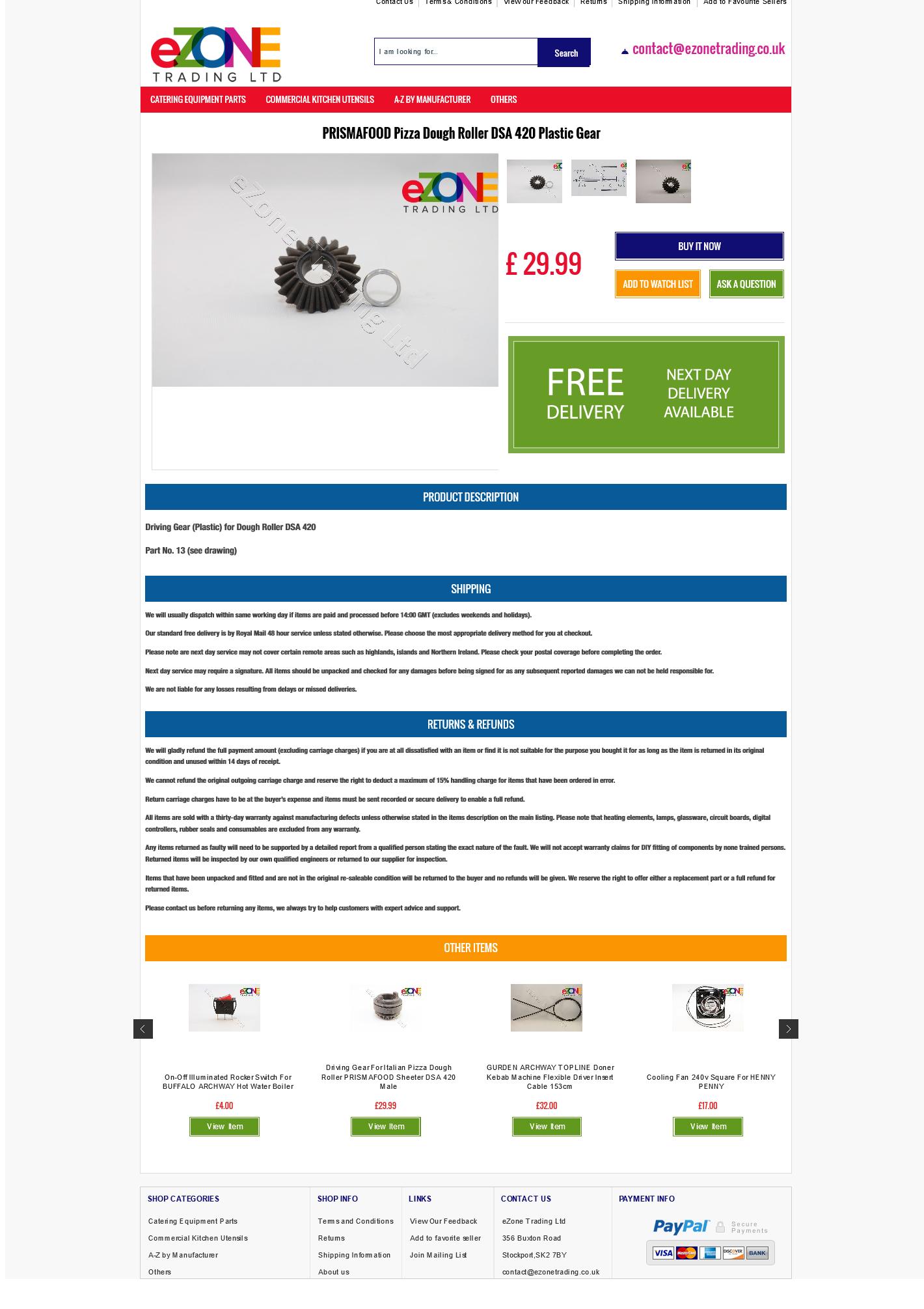 eZoneTrading item page