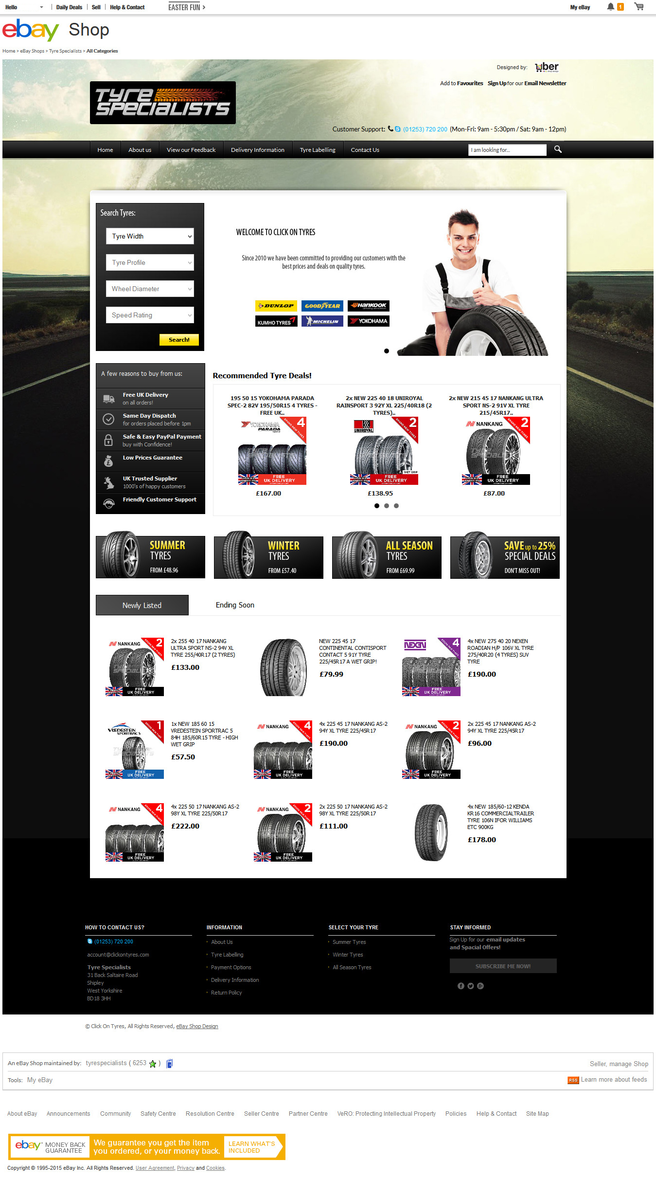 Tyre Specialists ebay shop design home page