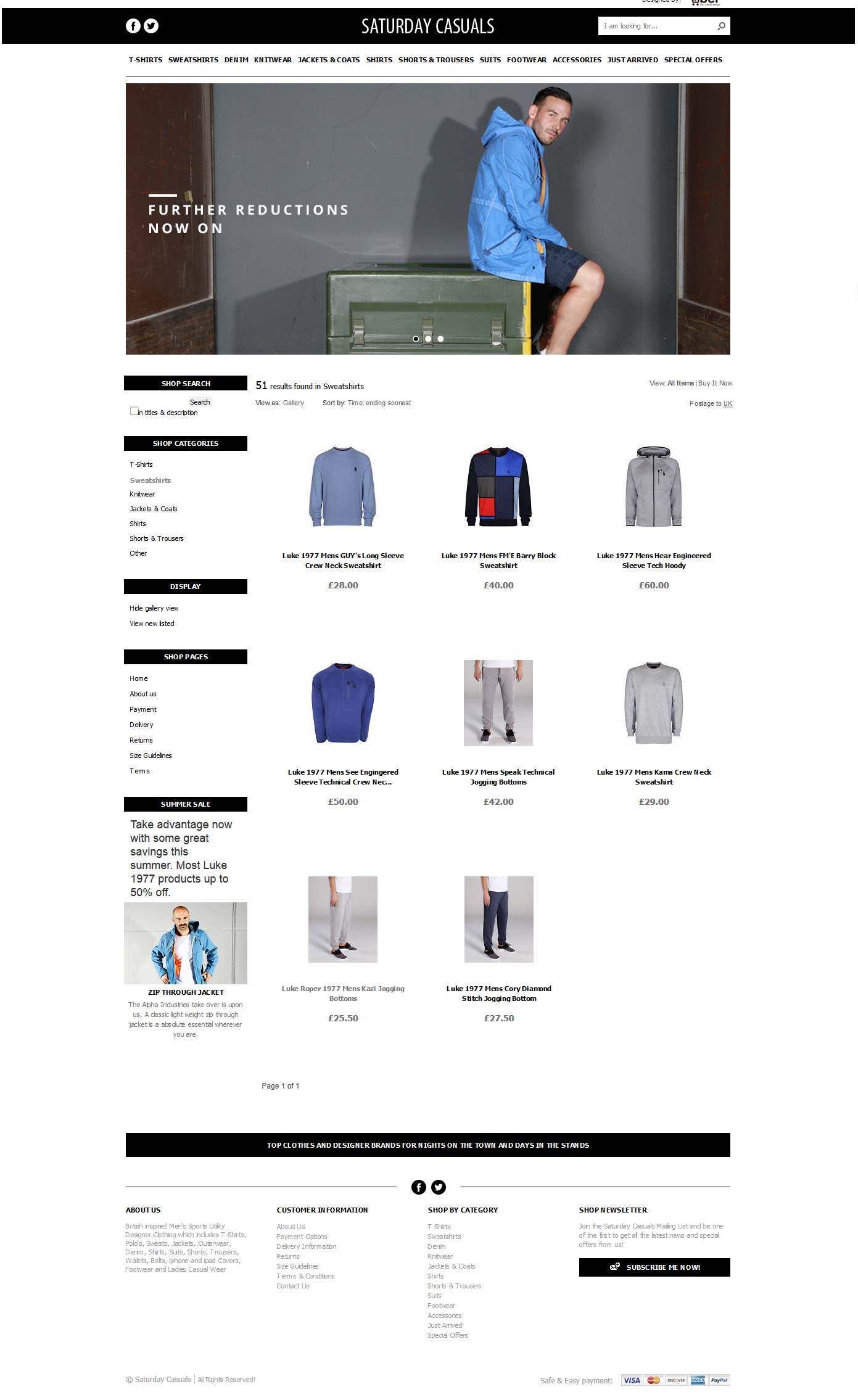 Saturday Casuals category page design ebay