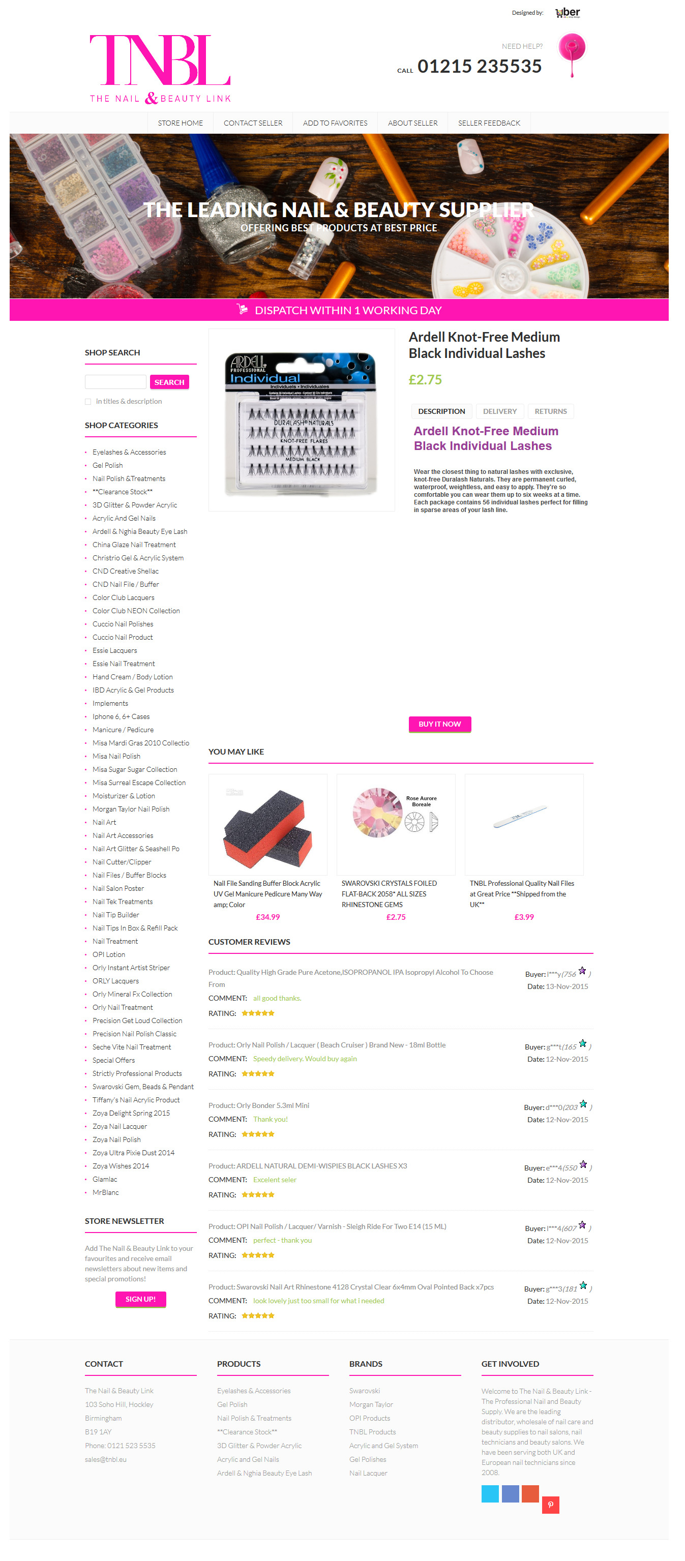 8df80cfab1f The Nail and Beauty Store - TNBL. category page view of TNBL shop design.  TNBL shop item page view