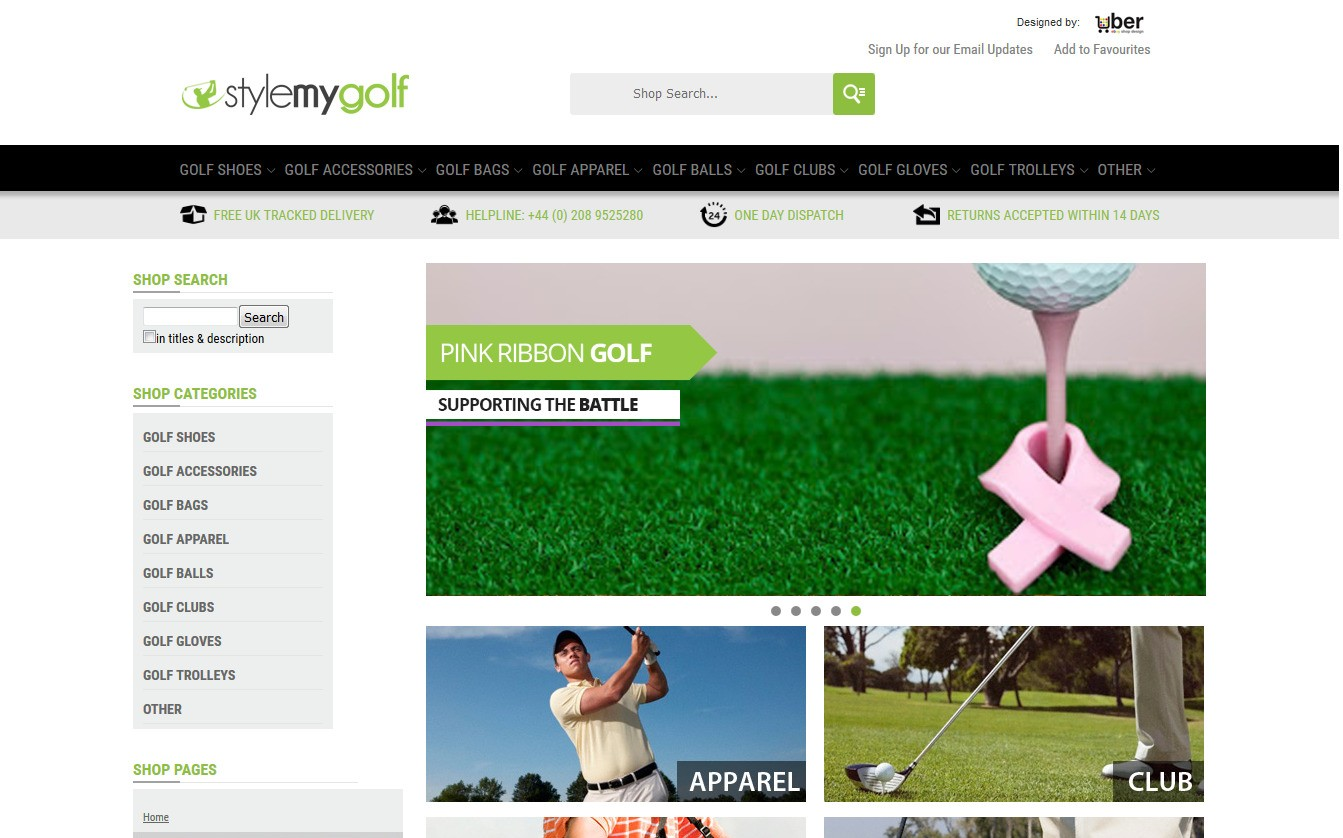 style my golf ebay shop home page